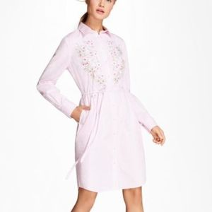 Brooks Brothers Pink Stripe Embroidered Shirt Dres